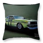 1970's Challenger Race Car Throw Pillow