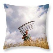1970s Man Farmer Field Hand Wearing Throw Pillow