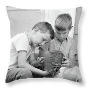 1970s Two Boys Seriously Inspecting New Throw Pillow