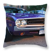 1971 Challenger Front And Side View Throw Pillow