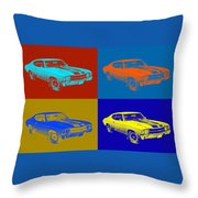 1971 Chevrolet Chevelle Ss Pop Art Throw Pillow