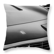 1971 Ferrari 365 Gtc-4 Grille Emblem -1541bw Throw Pillow