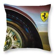 1971 Ferrari Dino Gt Wheel Emblem -027c Throw Pillow