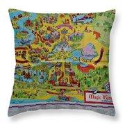 1971 Original Map Of The Magic Kingdom Throw Pillow