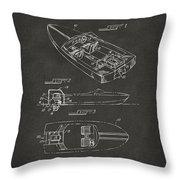 1972 Chris Craft Boat Patent Artwork - Gray Throw Pillow