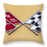 1972 Corvette Crossed Flags Throw Pillow