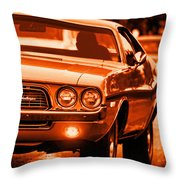 1972 Dodge Challenger In Orange Throw Pillow