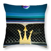 1972 Maserati Ghibli Grille - Hood Emblems Throw Pillow