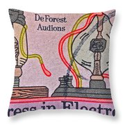 1973 Progress In Electronics Stamp Throw Pillow