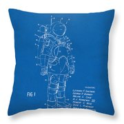 1973 Space Suit Patent Inventors Artwork - Blueprint Throw Pillow by Nikki Marie Smith