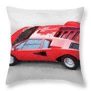 1974 Lamborghini Countach Watercolor Throw Pillow