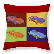 1975 Corvette Stingray Sportscar Pop Art Throw Pillow