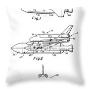 1975 Nasa Space Shuttle Patent Art 3 Throw Pillow