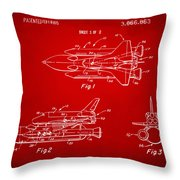 1975 Space Shuttle Patent - Red Throw Pillow