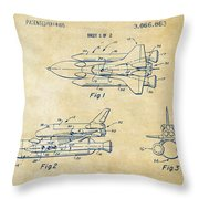 1975 Space Shuttle Patent - Vintage Throw Pillow