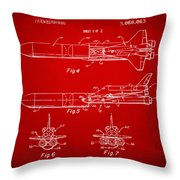 1975 Space Vehicle Patent - Red Throw Pillow