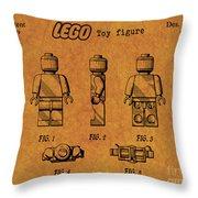 1979 Lego Minifigure Toy Patent Art 4 Throw Pillow