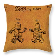 1979 Lego Minifigure Toy Patent Art 5 Throw Pillow