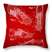 1980 Soccer Shoes Patent Artwork - Red Throw Pillow