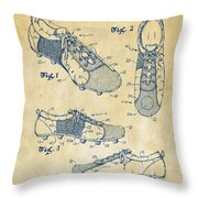 1980 Soccer Shoes Patent Artwork - Vintage Throw Pillow