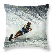 1980s Man Waterskiing Making Fan Throw Pillow