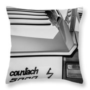 1982 Lamborghini Countach 5000s Taillight Emblem -0453bw Throw Pillow