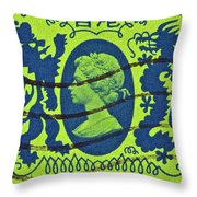 1985 Hong Kong Queen Elizabeth II Stamp Throw Pillow