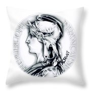 1896 French Indochine Silver Medal Of Honor - Original Throw Pillow