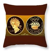 1988 Usa Olympic Gold Throw Pillow