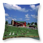 1990s Amish Family Farm Bunker Hill Throw Pillow