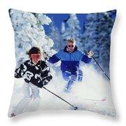 1990s Couple Skiing Vail Colorado Usa Throw Pillow