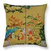 1994 Japanese Stamp Collage Throw Pillow