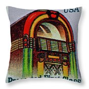 1995 Jukebox Stamp Throw Pillow