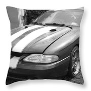 1996 Mustang Cobra In Black And White Throw Pillow