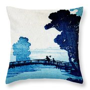 19th C. Japanese Father And Son Crossing Bridge Throw Pillow