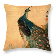 19th C. Japanese Peacock Throw Pillow