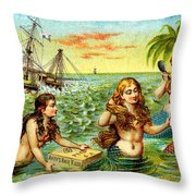 19th C. Mermaids At Ship Wreck Throw Pillow