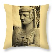 19th Century Granite Stone Sepia Sphinx Bust Poster Look Usa Throw Pillow