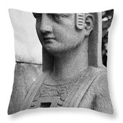 19th Century Granite Stone Sphinx Bust Black And White Poster Lo Throw Pillow
