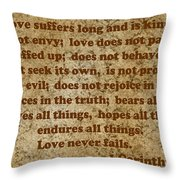 1st Corinthians 13 Verses 4-7 Throw Pillow