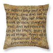 1st Corinthians 13 Verses 4 - 7  Throw Pillow