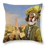 Tibetan Spaniel Art Canvas Print Throw Pillow
