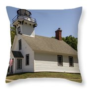 1870 Mission Point Lighthouse Throw Pillow
