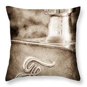 1911 Ford Model T Torpedo 4 Cylinder 25 Hp Hood Ornament - Emblem Throw Pillow by Jill Reger