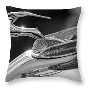 1933 Chrysler Imperial Hood Ornament -0484bw Throw Pillow