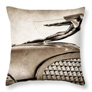 1937 Cadillac V8 Hood Ornament Throw Pillow