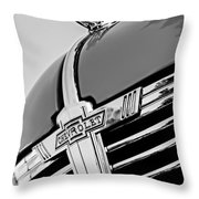 1938 Chevrolet Coupe Hood Ornament -0216bw Throw Pillow
