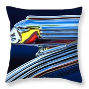 1939 Pontiac Silver Streak Chief Hood Ornament Throw Pillow