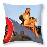 1940s Style Aviator Pin-up Girl Posing Throw Pillow