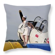 1940s Style Pin-up Girl Sitting Throw Pillow by Christian Kieffer